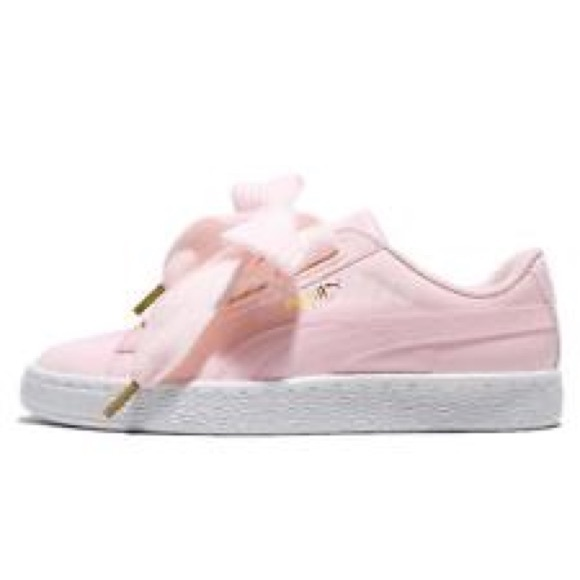 6bc694a12a8580 Baby Pink Ribbon Laced PUMA Sneakers